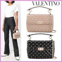 VALENTINO Casual Style Studded 2WAY Chain Plain Handbags