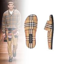 Burberry Other Check Patterns Unisex Street Style Shower Shoes