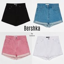 Bershka Short Casual Style Denim Plain Denim & Cotton Shorts
