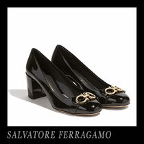 Salvatore Ferragamo Monogram Round Toe Block Heels Office Style