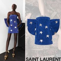 Saint Laurent Short Star Tight Leather Party Style Dresses