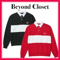 beyond closet Unisex Street Style Long Sleeves Plain Cotton Polos