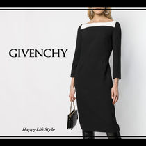 GIVENCHY Tight Wool Boat Neck Bi-color Cropped Plain Medium