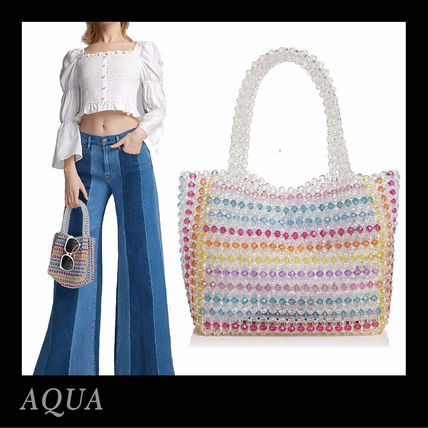 Stripes Casual Style Crystal Clear Bags Handbags
