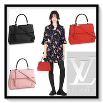 Louis Vuitton 2WAY Plain Leather Elegant Style Handbags