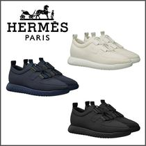 HERMES Plain Leather Sneakers