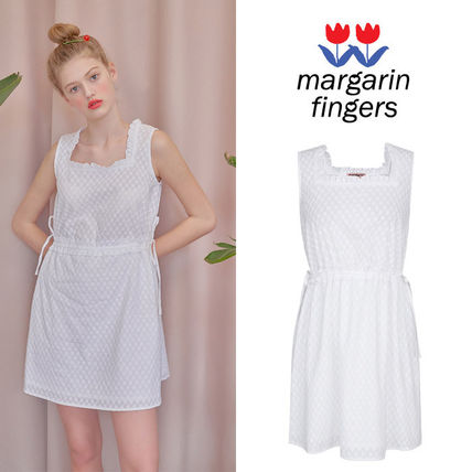Short Casual Style Sleeveless Plain Cotton Dresses