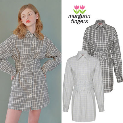 Short Gingham Casual Style Long Sleeves Cotton Shirt Dresses