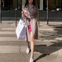 Casual Style Suede Plain Long Trench Coats
