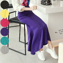 Casual Style Street Style Plain Cotton Long Maxi Skirts