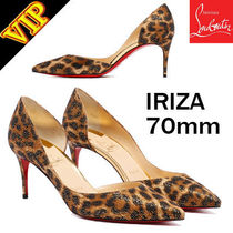 Christian Louboutin Nosy Leopard Patterns Leather Pin Heels Elegant Style