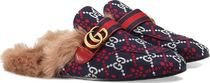 GUCCI Princetown Stripes Straight Tip Fur Blended Fabrics Loafers & Slip-ons