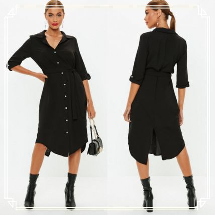Long Sleeves Plain Medium Shirt Dresses Elegant Style