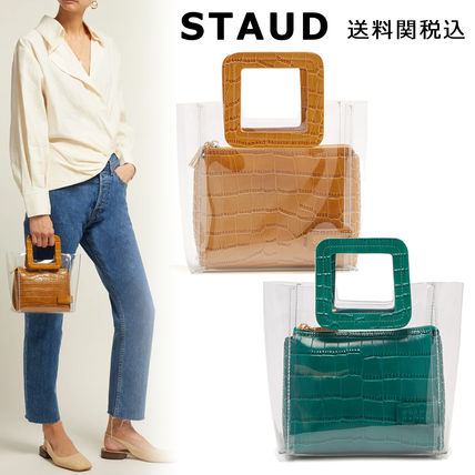 Casual Style Plain Other Animal Patterns Crystal Clear Bags