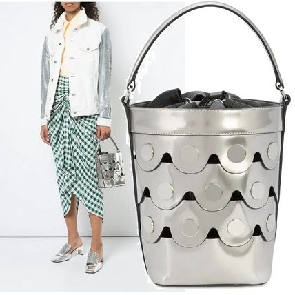 Casual Style Studded Plain Leather Purses Shoulder Bags