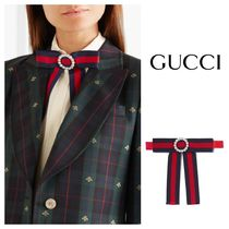GUCCI Stripes Silk With Jewels Detachable Collars
