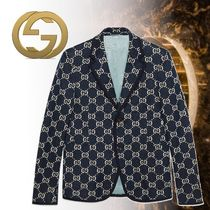 GUCCI Short Monogram Blended Fabrics Street Style Blazers Jackets
