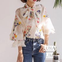 Flower Patterns Medium Elegant Style Puff Sleeves