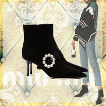 MiuMiu Suede Pin Heels Ankle & Booties Boots