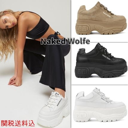 Platform Round Toe Casual Style Street Style Plain Leather