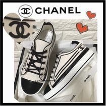 CHANEL Stripes Casual Style Low-Top Sneakers