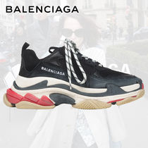 BALENCIAGA Triple S Round Toe Rubber Sole Lace-up Casual Style Unisex