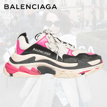 BALENCIAGA Triple S Round Toe Rubber Sole Lace-up Casual Style Blended Fabrics