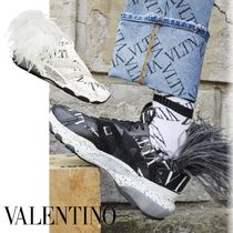 VALENTINO Camouflage Blended Fabrics Street Style Leather Sneakers