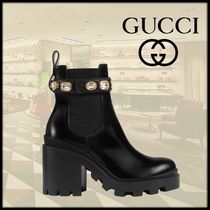 GUCCI Casual Style Leather Block Heels High Heel Boots