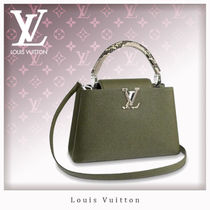 Louis Vuitton CAPUCINES Casual Style Blended Fabrics 2WAY Plain Leather Handbags