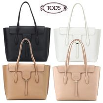 TOD'S A4 2WAY Plain Leather Office Style Totes