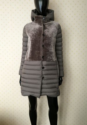 Fur Blended Fabrics Plain Down Jackets
