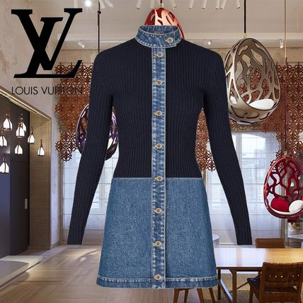 Denim Long Sleeves Medium Elegant Style Dresses
