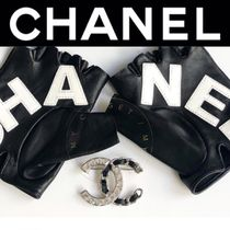 CHANEL ICON Blended Fabrics Street Style Bi-color Leather Handmade