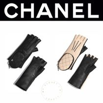 CHANEL MATELASSE Blended Fabrics Street Style Plain Leather Handmade