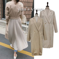 Other Check Patterns Casual Style Plain Long Trench Coats