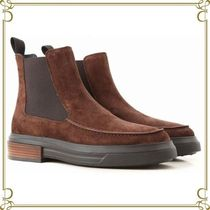 TOD'S Round Toe Rubber Sole Suede Plain Chelsea Boots