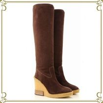 TOD'S Casual Style Suede Plain Wedge Boots