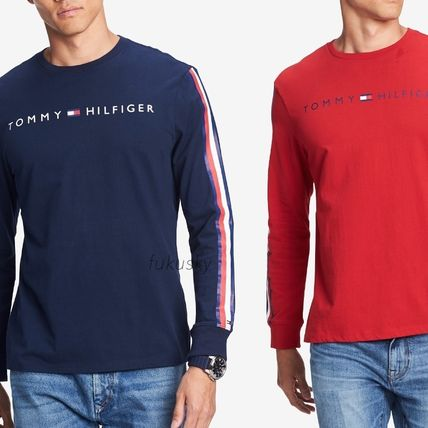 Tommy Hilfiger Long Sleeve Crew Neck Street Style Long Sleeves Cotton