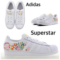 adidas SUPERSTAR Flower Patterns Casual Style Unisex Street Style Leather