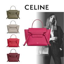 CELINE Belt Calfskin 2WAY Plain Elegant Style Khaki Bold Shoulder Bags