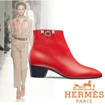 HERMES Plain Toe Studded Plain Leather Block Heels Elegant Style