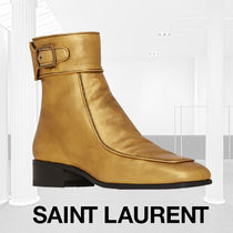 Saint Laurent Square Toe Casual Style Plain Leather Block Heels