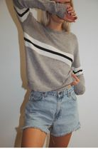 Brandy Melville Stripes Casual Style Cashmere U-Neck Long Sleeves Plain