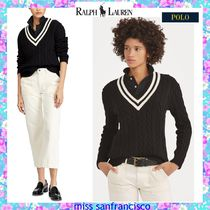 Ralph Lauren Cable Knit Stripes V-Neck Long Sleeves Plain Cotton