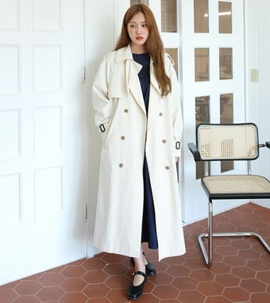 Stand Collar Coats Casual Style Plain Long Midi Oversized