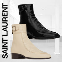 Saint Laurent Square Toe Casual Style Plain Block Heels