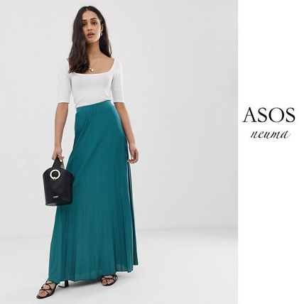 best website fashion style available ASOS 2019 SS Pleated Skirts Street Style Plain Long Elegant Style