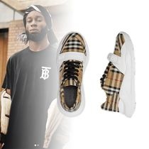 Burberry Other Check Patterns Unisex Street Style Sneakers