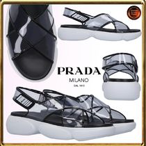 PRADA Rubber Sole Casual Style Sport Sandals PVC Clothing